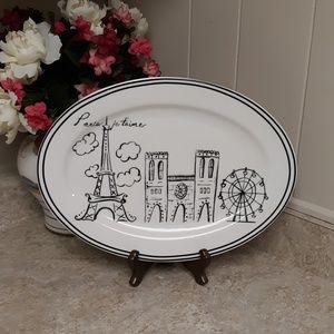 Vintage Paris Black/White LG. Oval Serving Platter